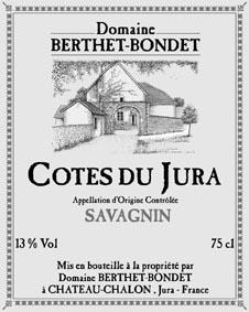 Étiquette Jean Berthet Savagnin